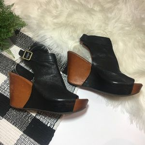 6d4e3ab227b Kork-Ease Shoes - Kork-Ease Nero black leather peep toe wedge bootie